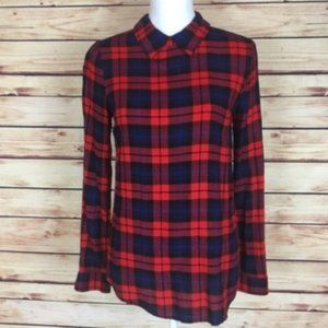 Forever 21 Plaid Collared Blouse Red Blue Small